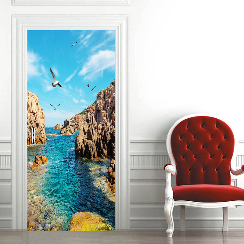цена 3D PVC Waterproof Door Stickers Door Decoration Wall Murals Wallpaper DIY Mural Bedroom Home Decor Sea View Poster Wall Sticker онлайн в 2017 году