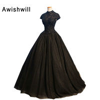 Real Photo Black Formal Evening Gown For Party Robe de Soiree Vestido de Festa Puffy Ball Gown Evening Dress 2019 Made in China