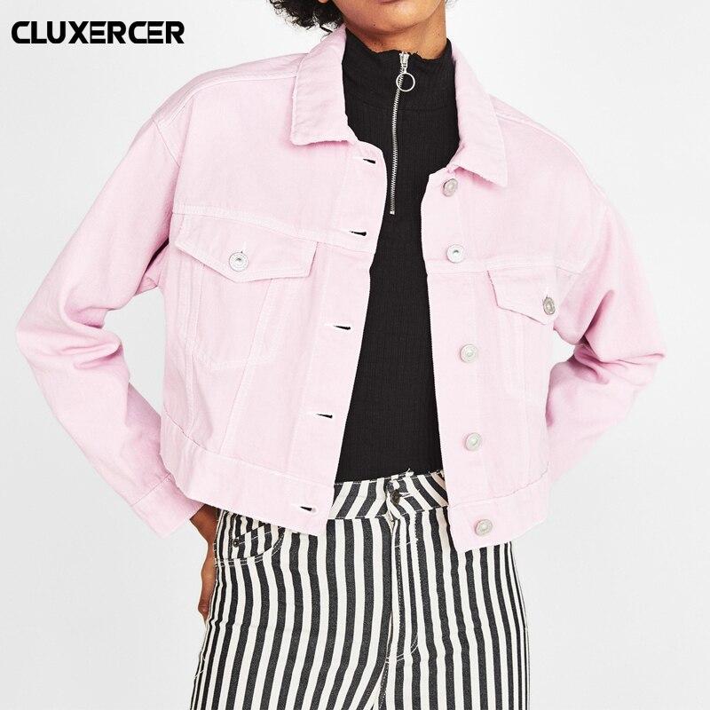 Fashion Pink Jeans Jacket Women 2018 New Long Sleeve Stretch Short Casual Denim Jacket Coat jaqueta feminina