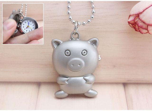 Charming minni lady accessories pig watch key chain fashion jewelry Pocket Watch