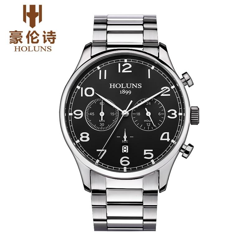 Luxury Brand HOLUNS Chronograph Men's Date Function Quartz Watch Full Stainless Steel Men Business Wristwatch Reloj Hombre все цены
