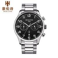 Luxury Brand HOLUNS Chronograph Men S Date Function Quartz Watch Full Stainless Steel Men Business Wristwatch