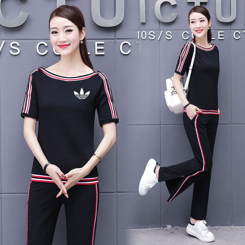 2018 Autumn 2 Piece Set Women Tracksuit Sportswear Casual White Red Sweat Pants Hooded Cropped Sweatshirt Hoodie