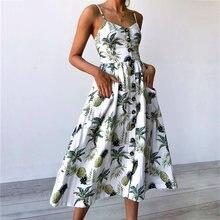 Женское винтажное платье с цветочным принтом Пляжное Платье