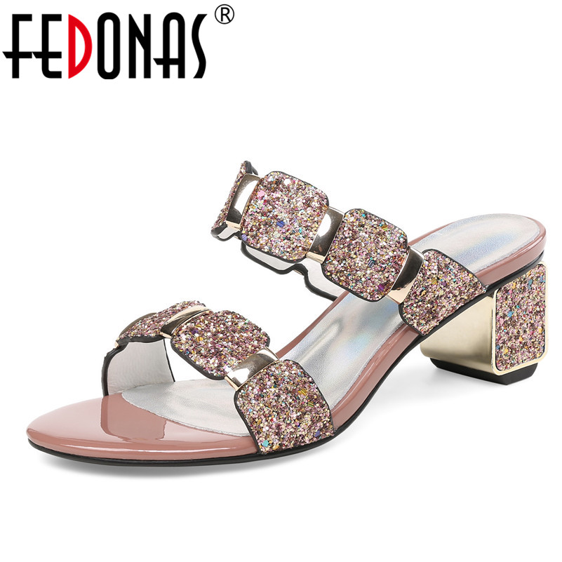 FEDONAS  Women Sandals Flips Flops 2018 Summer Style Shoes Woman High Heels Sandals Fashion Glitters Platform Female Shoes women sandals 2017 summer shoes woman flips flops wedges fashion gladiator fringe platform female slides ladies casual shoes