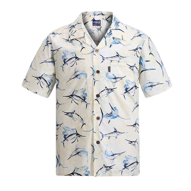 c3f47be26608 2016 Summer Cotton Hawaii Holiday Beach Shirt Men Casual Short Sleeve Fish  Printed Shirt Plus Size Loose Tops US Size W442