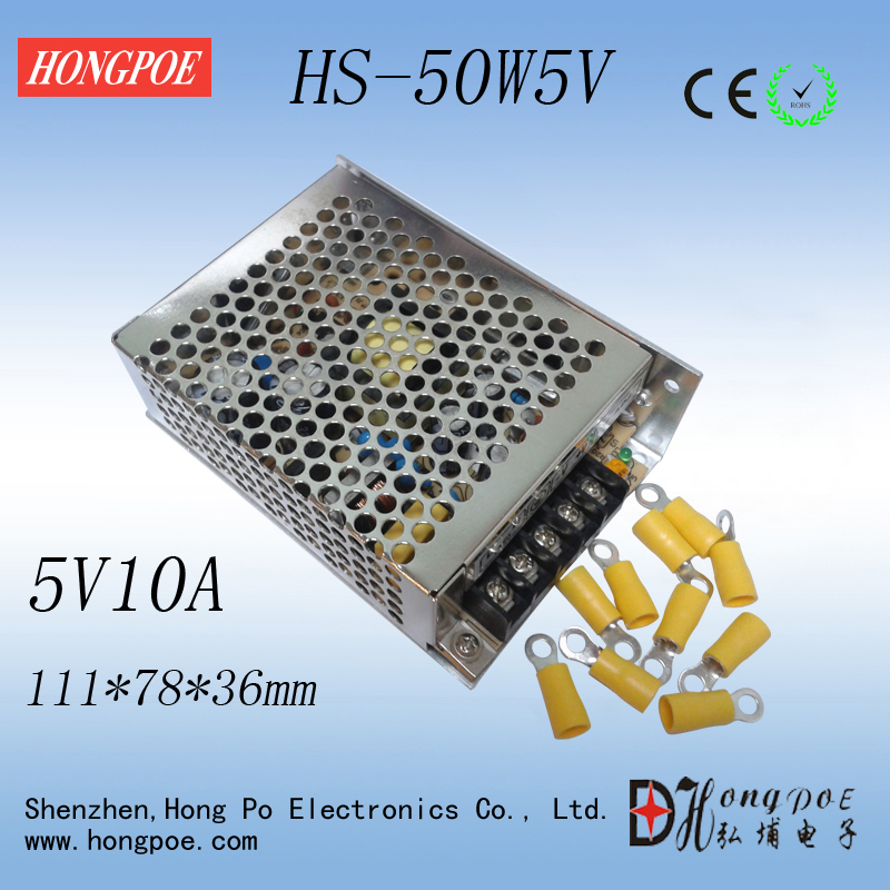 Best quality 5V 10A 50W Switching Power Supply Driver for LED Strip AC 100-240V Input to DC 5V 36pcs best quality 12v 30a 360w switching power supply driver for led strip ac 100 240v input to dc 12v30a