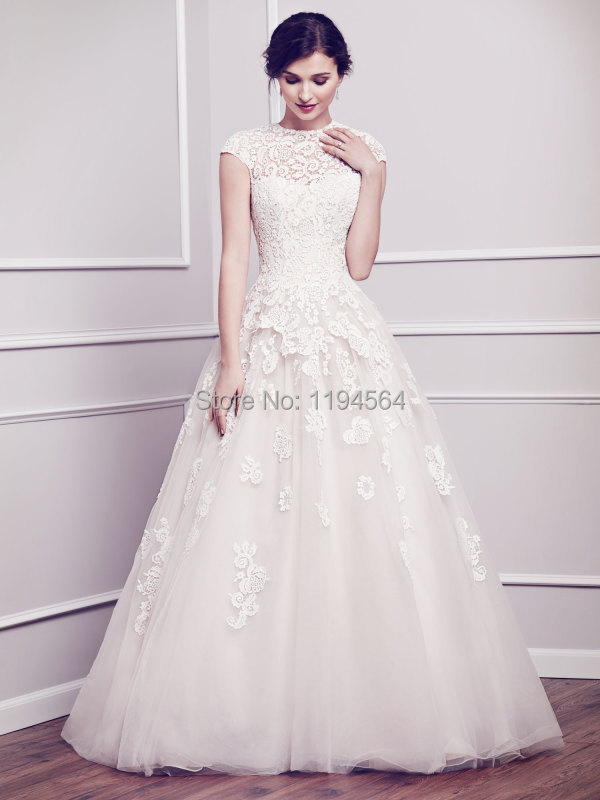 Modest High Neck Wedding Dresses Lace Bodice Short Sleeve A Line ...
