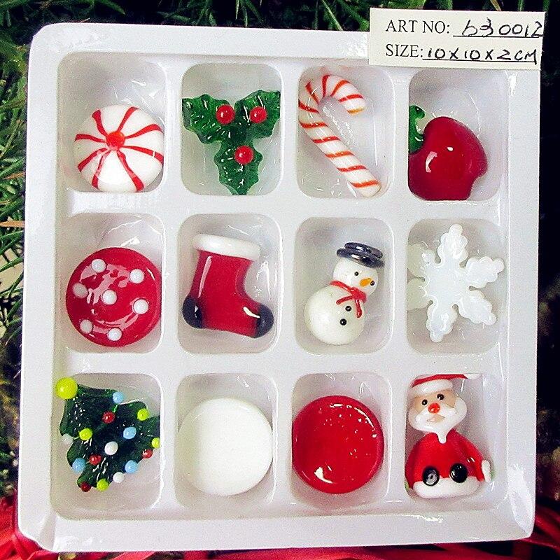 12pcs Custom Glass handicraft Santa, socks, Snowman, Christmas tree, crutches, apple figurines decorative ornaments