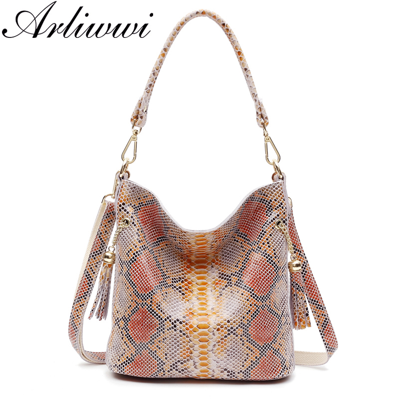 Arliwwi Real Leather Woman Snake Skin Hand Bags Luxury Designer 2 Tone Colors Ladies Fashion Shoulder Handbags Genuine Leather