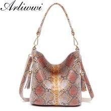 Arliwwi prawdziwa skóra kobieta skóra węża torebki luksusowy projektant moda damska torebki na ramię z prawdziwej skóry GY02