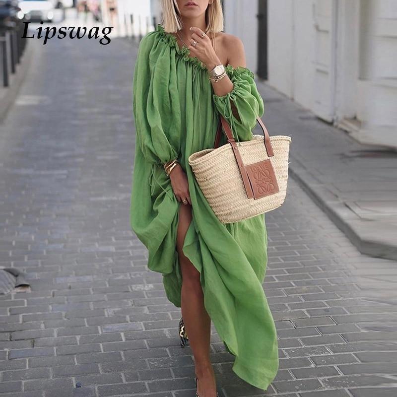 Lipswag Maxi Dress Long-Sleeve Ruffles Sexy Autumn Off-Shoulder Casual Women Summer Solid