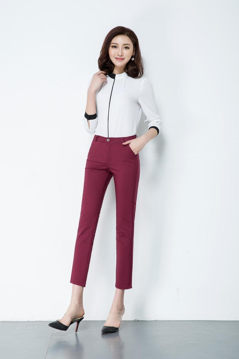 Casual Trousers Women 95% Cotton Elastic Slim Skinny Pants femal Spring Street Wear Pencil Pants Ladys Elegant Office Work Pant 1