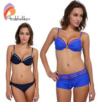Andzhelika Sexy Bikinis Set Woman Solid Push Up Swimsuit Sport Bottom And Brazil Bottom Summer Beach