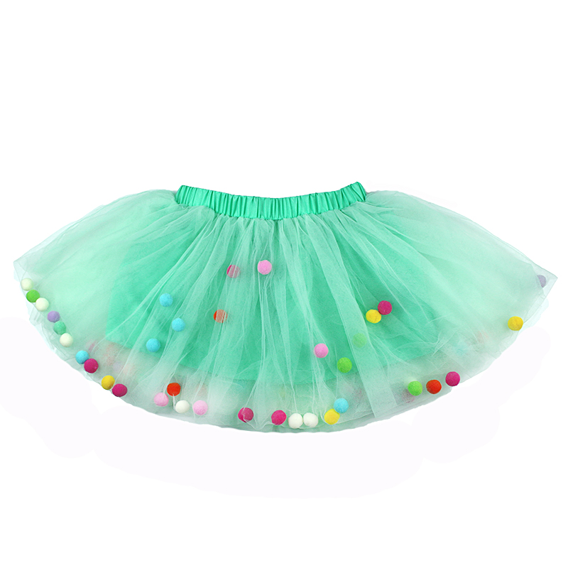 2021 Summer Baby Multilayer Tulle Tutu Skirt Colorful Pom Pom Princess Mini Dress Children Clothing Pettiskirt Girl Clothes 2