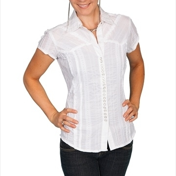 fc29f496a2477 Scully PSL-012S-WHT-L Female Cantina Lace Stripe Ruffled Short Sleeve  Western