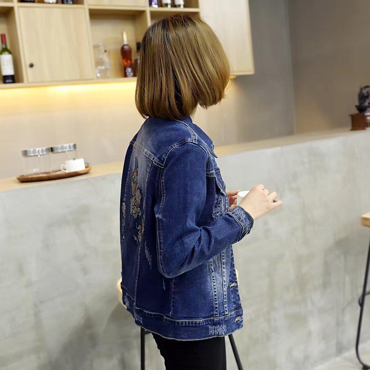 Embroidery Denim Jackets Women Coats Plus Size 3 4 XL Single Breasted Regular Jackets Blue KKFY929 1