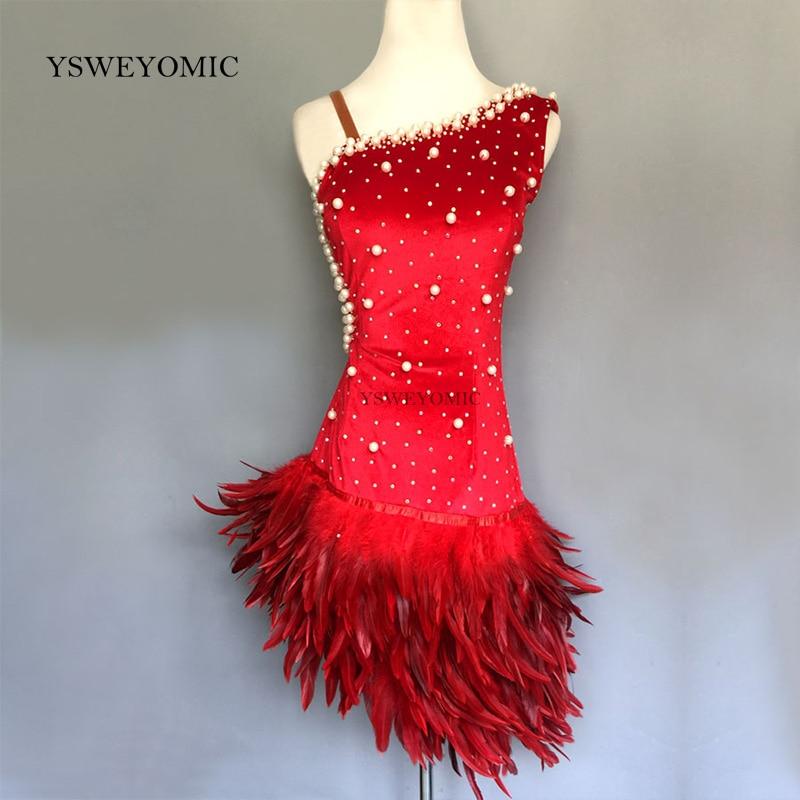 Feather Customized Color Latin Dress Latino Dancewear Latino Sala Da Ballo Di Danza In Costume Crystal Peal Latin Dance Dress