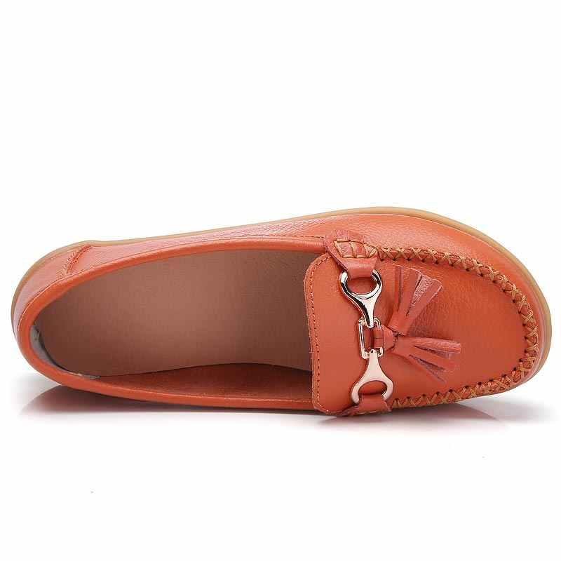 Platte schoenen vrouw tassel fringe effen kleur loafers vrouwen schoenen ronde neus 2018 nieuwe mode echt leer flats schoenen