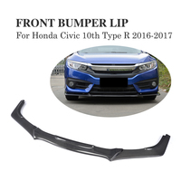 Front Bumper Lip Spoiler Body Kit Case for Honda for Civic 10th Type R 2016 2017 American Version Carbon Fiber / PU Black