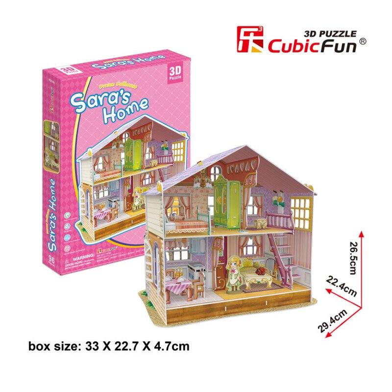 CubicFun DIY 3D Paper Puzzle Toy Girls Dream Dollhouse Cardboard Puzzle Preschool Kids Educational Papercraft Model Toy Juguetes st peter s basilica cubicfun 3d educational puzzle paper