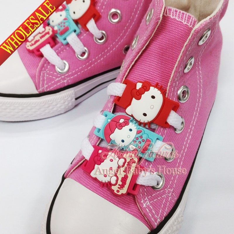 Shoe Decorations New Novelty 1pair 2pcs Cute Cartoon Hello Kitty Shoe Lace Accessorie Pvc Shoe Buckle Silicone Laces Kids Party Favors Pleasant In After-Taste