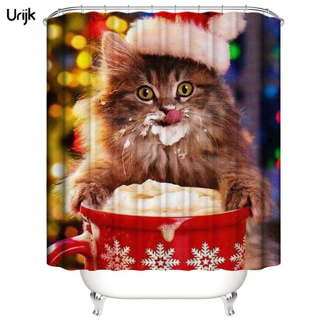 Urijk 1PC New Year Curtains for Bathroom Lovely Cat Shower Curtain ...