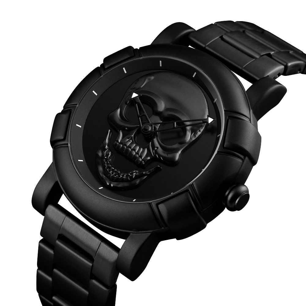 Squelette crâne montre hommes montres de luxe marque Quartz montre Sport étanche en acier inoxydable mâle bracelet Reloj Militar horloge