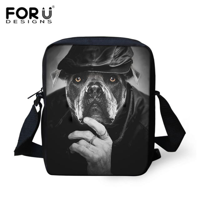 9125a7a12ed FORUDESIGNS Cool Black Pugs School Bags Messenger Bag For Teens Boys 3D  Hand Satchels Schoolbag Men s Travel Mini Crossbody Bag
