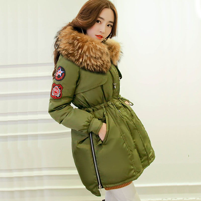 2018 Brand Women Winter Parka White Goose Down Jacket Coats Thick Parkas Natural Big Real Raccoon Fur Collar Hooded DHL Free
