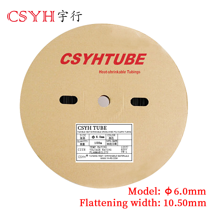 6mm Tubo Do Psiquiatra Do Calor Tubo UL/RoHs Antiflaming 100 m/lote Tubulação da Isolação do Fio