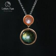 Lotus Fun Plata de Ley 925 auténtica hecho a mano con piedra Natural, joyería fina, colgante con diseño de Lago misterioso sin cadena para mujer