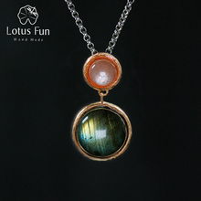Lotus Fun Real 925 Sterling Silver Natural Stone Handmade Fine Jewelry Mysterious Lake Design Pendant without Chain for Women
