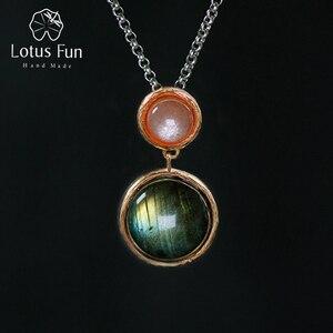 Image 1 - Lotus Fun, pendentif en argent Sterling 925, en pierre naturelle, fait à la main, bijoux fins, Design lac mystérieux, sans chaîne, pour femmes