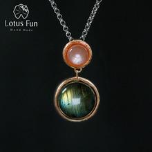 Lotus eğlenceli gerçek 925 ayar gümüş doğal taş el yapımı güzel takı gizemli gölü tasarım kolye zinciri olmadan kadınlar için