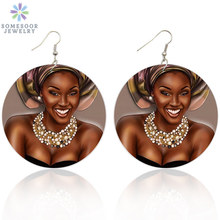 Drop-Earrings Jewelry Gifts Wooden Afro-Art Black Queen Dangle African Vintage Woman