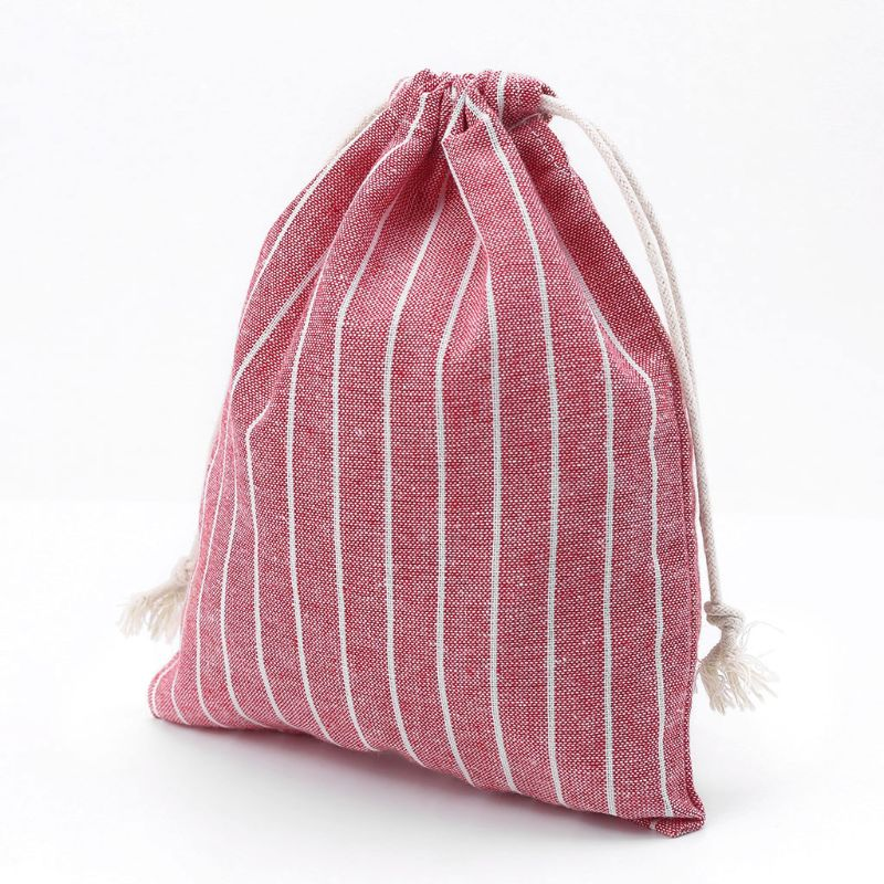 THINKTHENDO 1PC Christmas Candy Bag Cotton Linen Drawstring Gift Bag Portable Bag