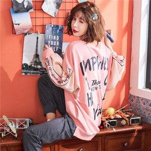 Image 3 - JRMISSLI pyjama 2 pièces rose, vêtements de nuit en pur coton, costume pour femme, nouvelle collection printemps Pullover décontracté