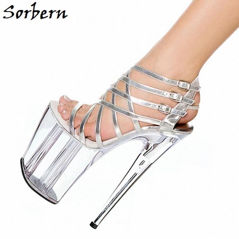Sorbern Multi Buckle Straps Sandals Transparent Heels Platform 10Cm Summer Shoes For Ladies High Heels Gladiator Sandals Size 10