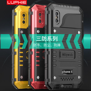 Image 2 - Waterproof Aluminum Case For iphone X XS MAX XR 6S 7 8 Plus Shockproof Dustproof Cover Metal Armor Shell With Tempered Glass