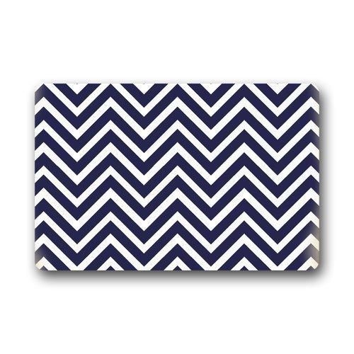 Chevron Pattern Navy Blue And White Custom Doormat Door Mat Machine  Washable Rug Non Slip Mats Bathroom Kitchen Decor Area Rug