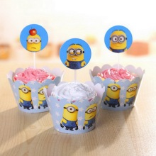 Minions Party Supplies Cup Cake Topper Decoration Birthday Decorating Despicable Me Minion Wrapper
