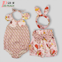 Baby Clothes Sets Flowers Baby Girl Clothes cotton Sleeveless Jumpsuit+Short+Headband Infant Tracksuit Petal collar Fruit Suit