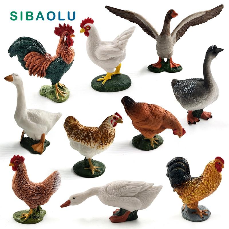 Имитация курицы, утки, фигурки гуся модель животного на ферме, домашний декор, миниатюрное украшение для сада в виде Феи, аксессуары, статуя