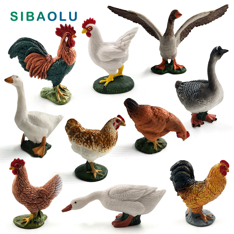 Simulation Chicken Duck Goose Figurines Farm Animal Model Home Decor Miniature Fairy Garden Decoration Accessories Crafts Statue