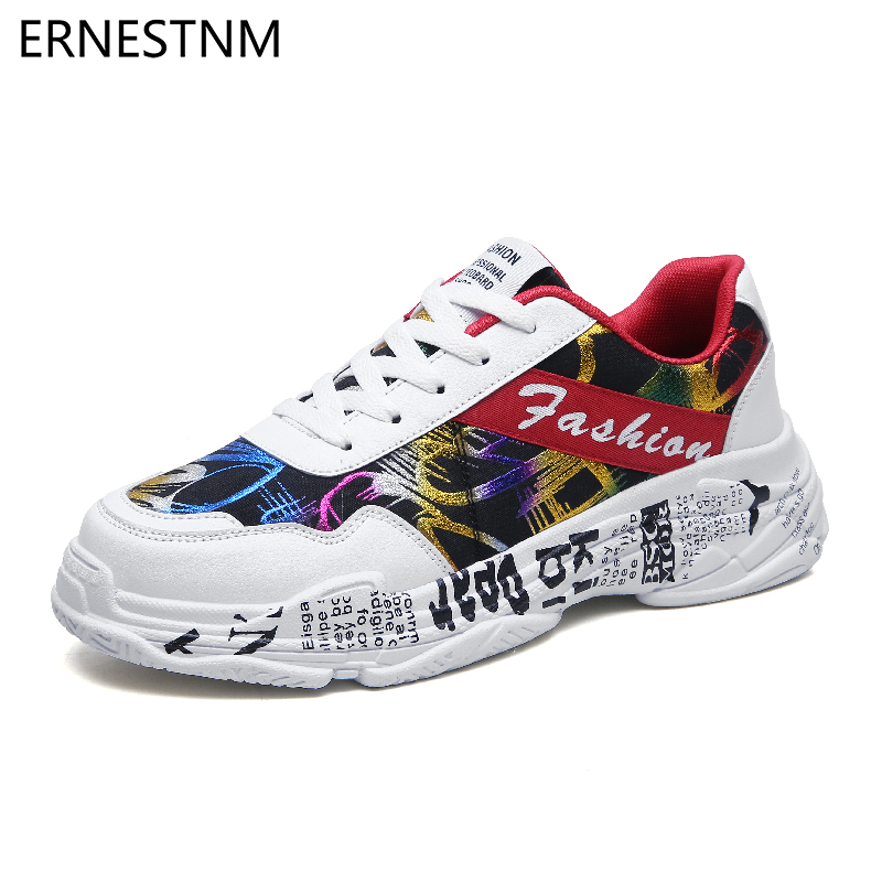 ERNESTNM 2019 Summer White Sneakers Sping Woman Casual Fashion Sneakers Graffiti Flats Ladies Vulcanized Shoes Zapatos De Mujer