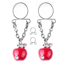 2Pcs New Fashion Non pierced Clip Nipple Rings Nipple Women Apple Fake Nipple Dangle Adjustable Sexy Body piercing Jewelry