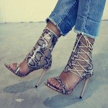 Snakeskin Pattern Women Pumps High Heels Peep Toe Lace up Cross-tie Sexy High Heels Women Summer Party Shoes Plus Size 34-43