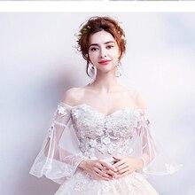 Кружевное сказочное платье принцессы с рукавами-рожками и ручной вышивкой; вечерние платья для невесты