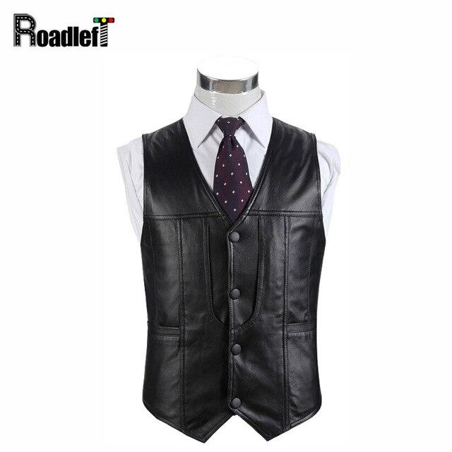5f67755487525 Mens genuine leather fur motorcycle vest suit Men sheepskin casual vests  waistcoat winter multi pocket warm